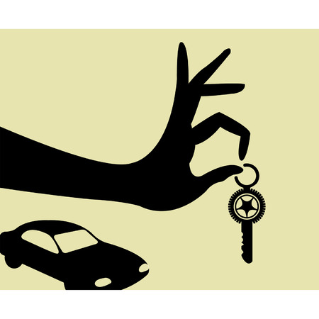 car key: Hand holding keys  illustration