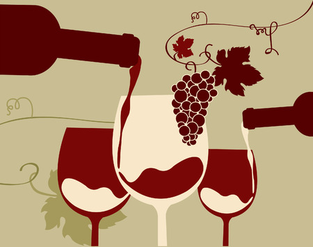 sommelier: Un vaso de vino tinto con uvas