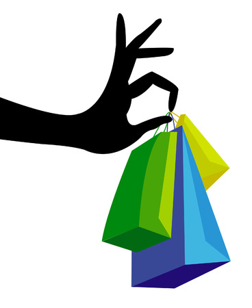 white paper bag: Hand with shopping bag