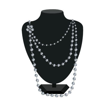Diamanten halsketting op een zwarte mannequin op witte achtergrond