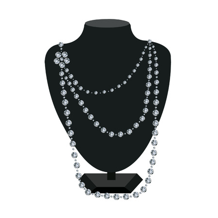 Diamond necklace on a black mannequin on white background Illustration