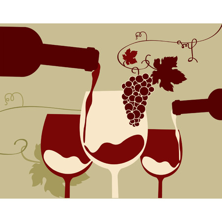 A glass of  red wine with grapes Vector