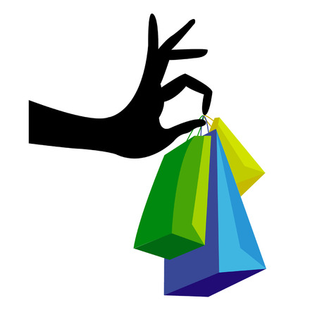 woman holding bag: Hand with shopping bag