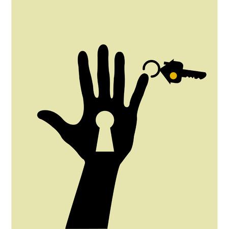 Hand hous key and keyhole Stock Vector - 8949829