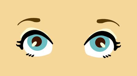 Cartoon women blue vector eyes. Stock Vector - 8949830