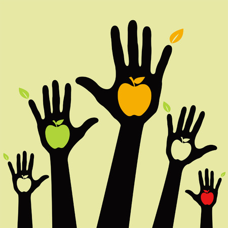 raising hand: Healthy apple hands