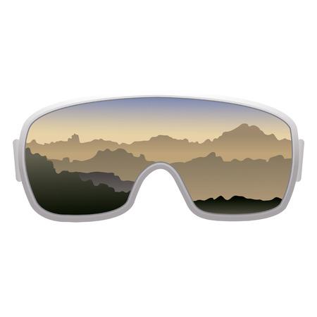 Vector skibeschermende brillen die op witte achtergrond worden geïsoleerd