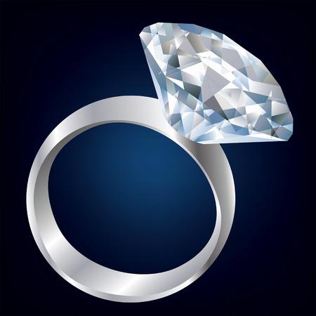 Diamond ring over black background
