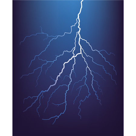 Lightning bolt at night. Vector.  Illustration