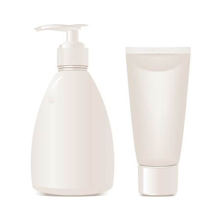 product packaging: cosmetics soap and gel containers