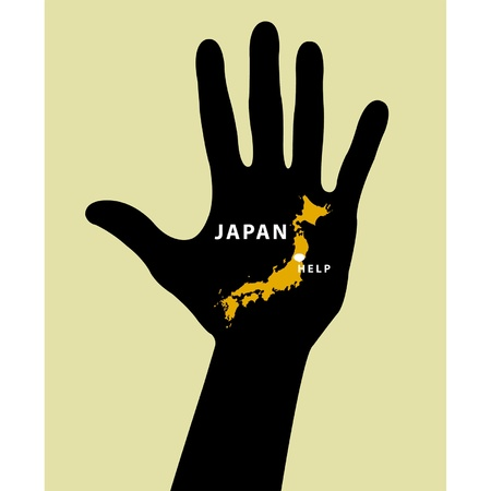 Hand with Japan Map With Seismic Epicenter. Help Japan Vector