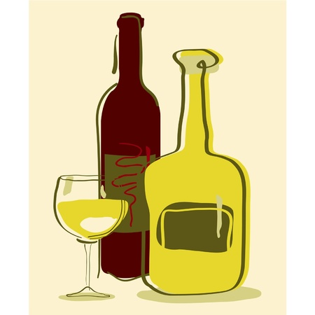 Different wine bottles and glass of wine Stock Vector - 9343821