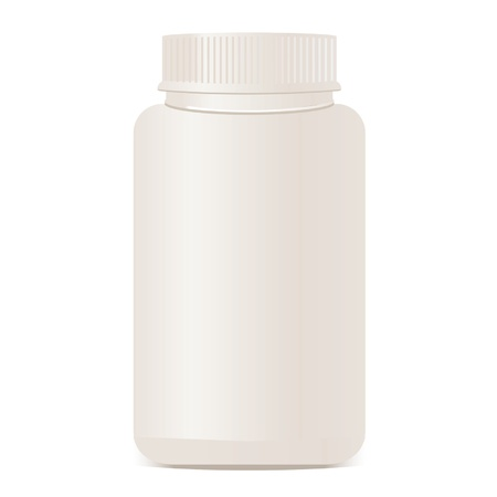 and vitamin: A white plastic bottle isolated.