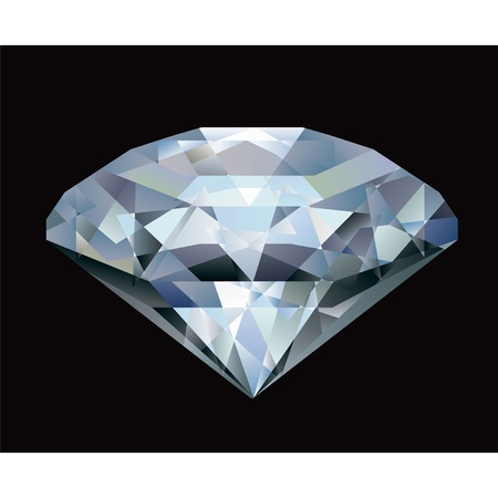 Realistic diamond illustration on black background  Stock Vector - 9361394