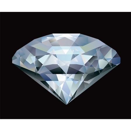 Realistic diamond illustration on black background  Illustration