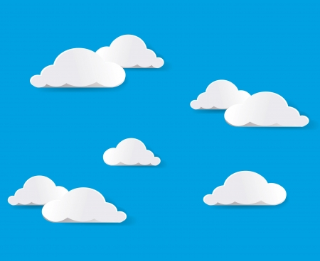 clean sky: White clouds. Vector.