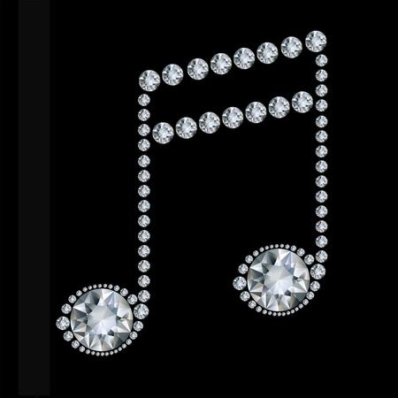 Diamond Music Note on black background Иллюстрация