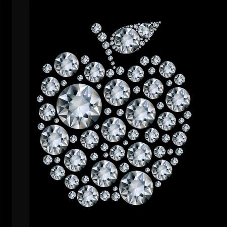 ダイヤモンド: 黒の背景にダイヤモンド アップル