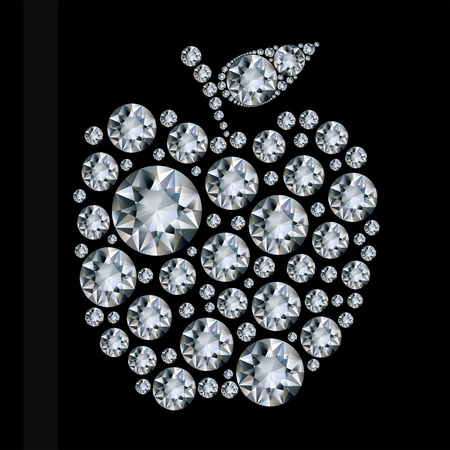 expensive food: Diamond apple on black background