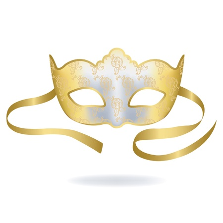 decoration decorative disguise: Venetian Gold Carnival mask. Illustration