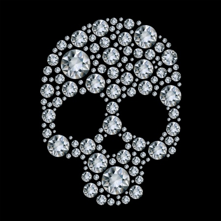 diamond skull  on black background