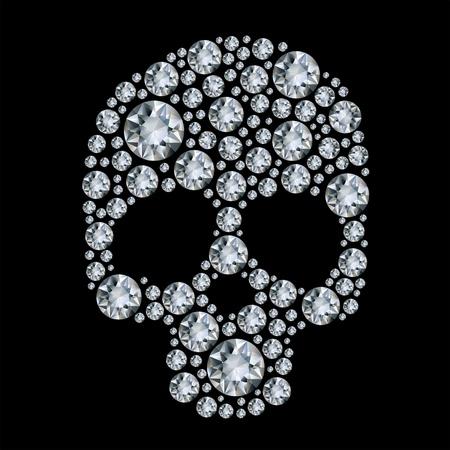 gems: diamond skull  on black background
