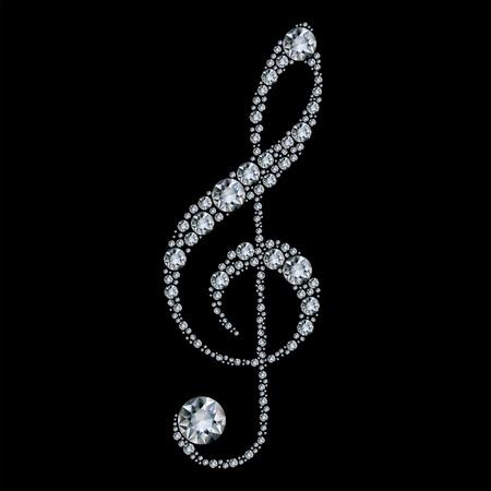Diamond treble clef Stock Vector - 9569645