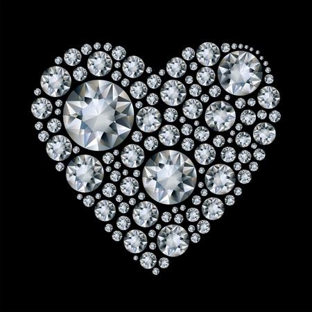 Vector glanzende diamant hart op zwarte achtergrond