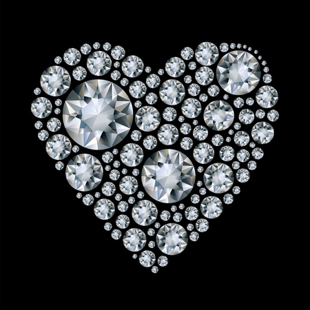 brilliant: Vector shiny diamond heart on black background