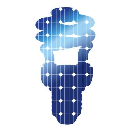 energia solar: La l�mpara eficiente con textura de paneles solares Vectores