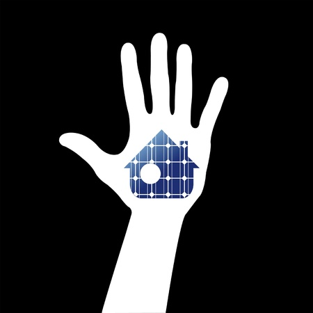 solar house: Hand with solar house. Save energy