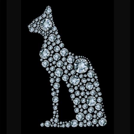 shiny diamond cat on black background Illustration