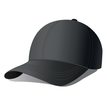 black cap: illustration of baseball cap.