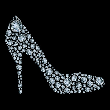 Shoes shape made up a lot of diamond on the black background  Ilustrace