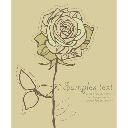 Retro Card With Stylized Rose Vector Vector