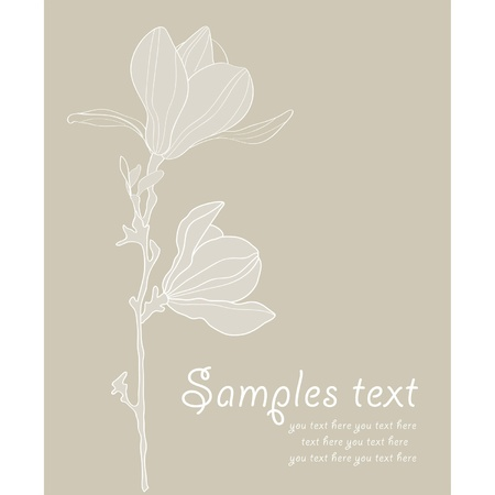 magnolia flower: Card with stylized magnolia retro