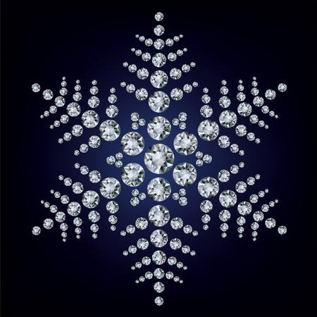 Snowflake made from diamonds. vector illustration  Illustration
