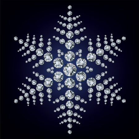 Snowflake made from diamonds. vector illustration  Illustration