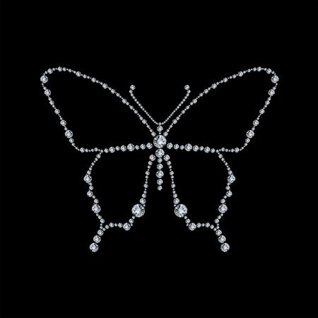 Diamond butterfly, vector illustration