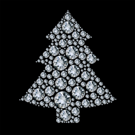 diamonds isolated: Christmas tree made from diamonds. Illustration