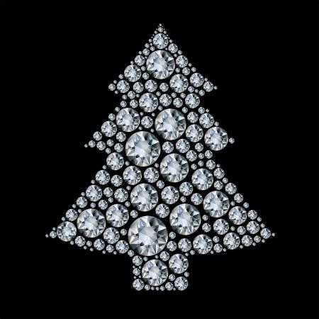 frozen trees: Christmas tree made from diamonds. Illustration