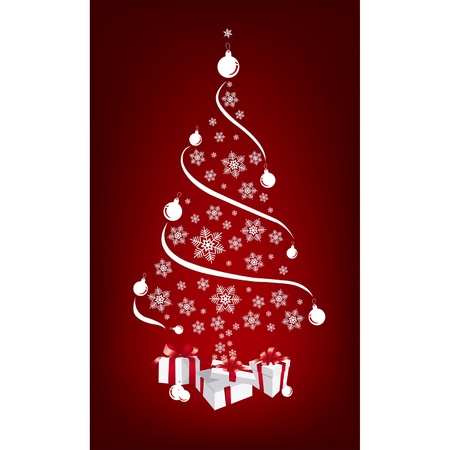 Christmas background with Christmas tree with gifts Stock Vector - 10039429
