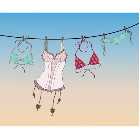 Pantie, bra and lingerie hanging on rope  Illustration