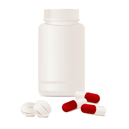 supplements: Container with pills. Vector illustration.