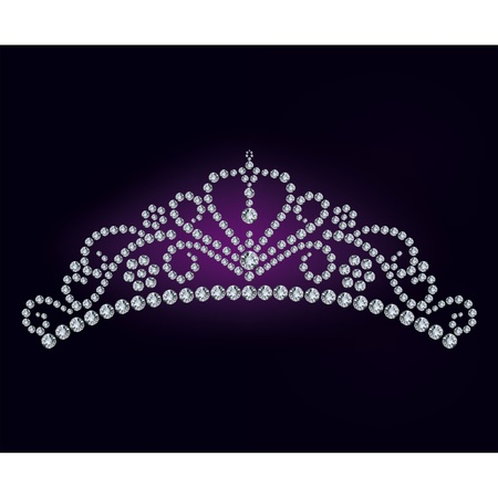 heart with crown: Diamond tiara - vector illustration  Illustration