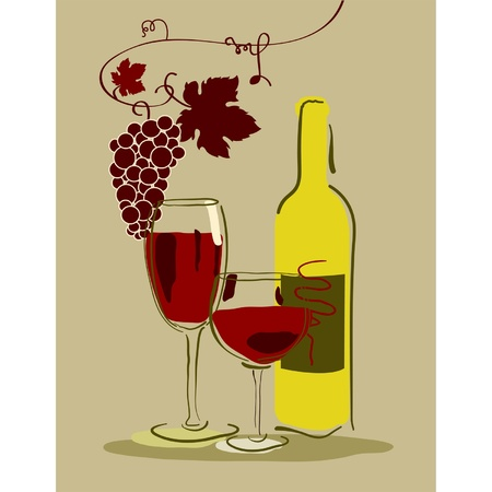 Stock Vector Illustration: A glass of red wine with grapes Vector