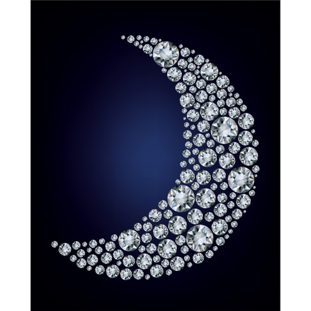 illustration of moon shape made up a lot of diamond on the black background