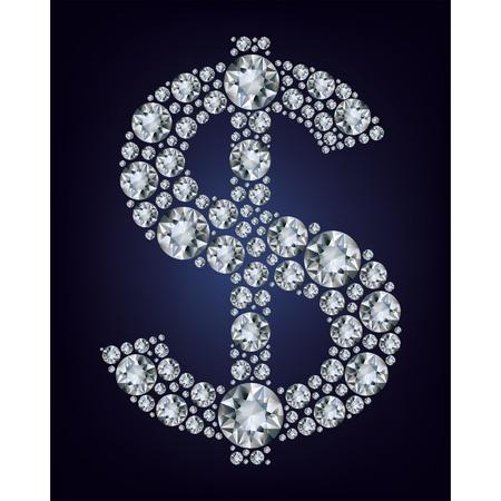 Dollar symbol in diamonds.