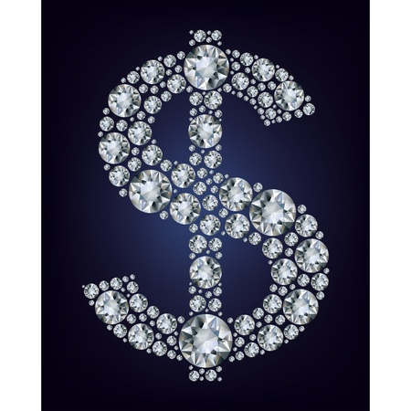 Dollar symbol in diamonds.