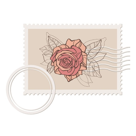 blank post stamp with rose Stock Vector - 10281250